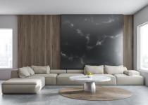 Perete decorativ de marmura neagra pentru living