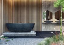 Cada de marmura neagra pentru baie