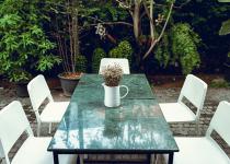 Masa de marmura verde pentru terasa